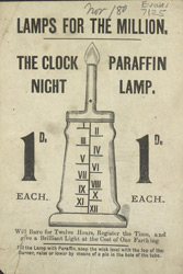 Advert for the Clock Paraffin Night Lamp